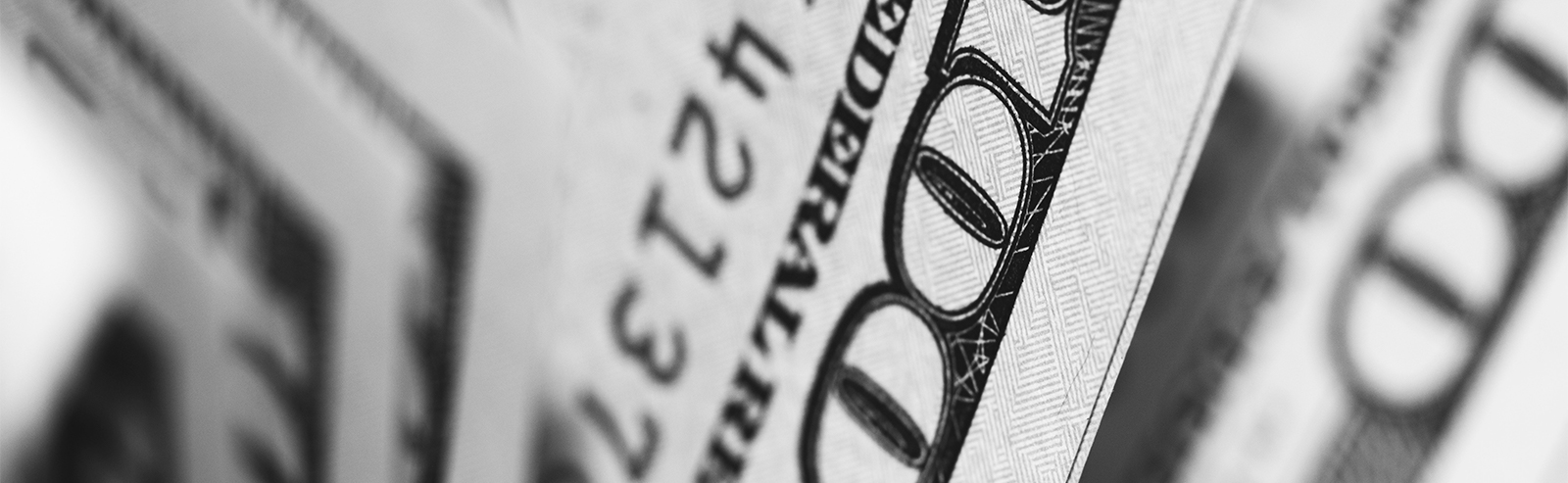 black and white image of fanned money