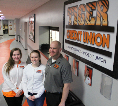 Tiger Credit Union employees outside in-school branch